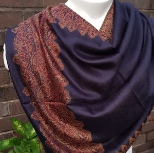 Blue and Bronze Reversible Pashmina Scarf
